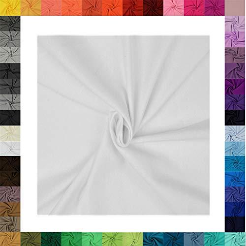 1 Meter Jersey Baumwolljersey Uni Farben, 220g/m², Öko-Tex Standard 100, Stoffe, 330g/lfm (5003 Weiß)