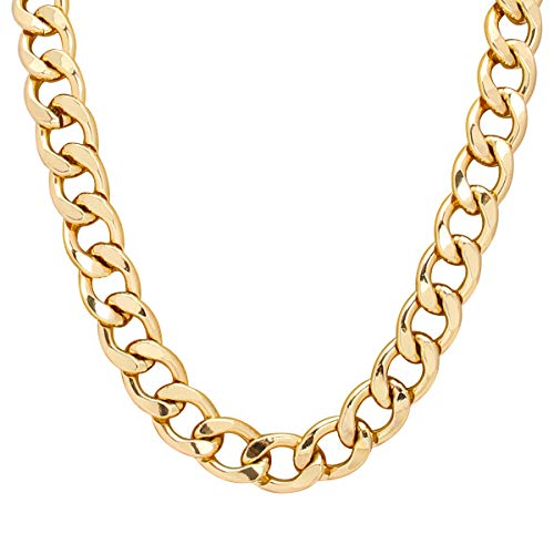 TOOL GADGET Fake Gold Chain Necklace Super Luxury & Looks So Real gold-plated chain Stainless Steel Gold Flat Chain Curb Chains 10mm (32inch)