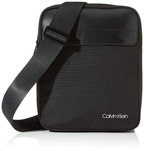 Calvin Klein - United Nylon Flat Crossover, Shoppers y bolsos de hombro Hombre, Negro (Blackwhite Black), 1x1x1 cm (W x H L)
