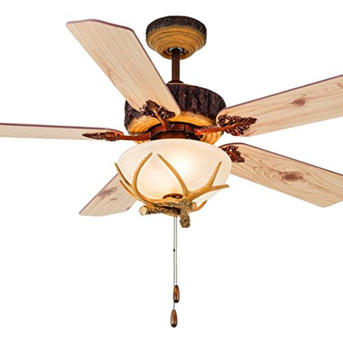 Plafondventilator, laag plafond, met licht en bediening, retro-bediening, eenvoudig, LED, hoorn, plafondverlichting, ventilator