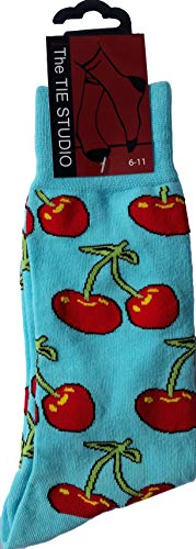 Red Cherries on Pale Blue Unisex Novelty Ankle Socks Adult Size 6-11