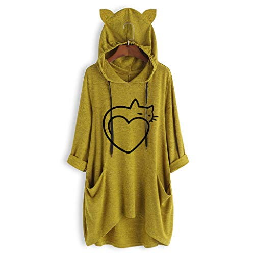 Zecken XXXL Zahl Frauen übergroßen Hoodie Decke Lässige Druckkatze Ear Kapuze Lange Ärmel Tasche Unregelmäßige Top Bluse Hemd Schweiß EIN Kapuche (Color : Yellow)