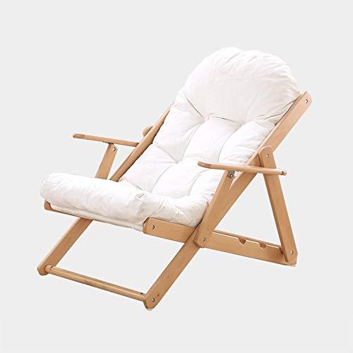 YLCJ PHTW klapstoel Balkon ligstoelen Massief hout stoelen Vouwstoelen voor lunch pauze Luie vrije tijd stoelen Strandstoelen A ++ (Kleur: GRIJS, Afmetingen: Zonder kruk) Without stool Kleur: wit
