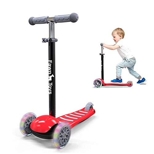 Fawn Toys 3-Wheel Junior Kick Scooter LED Flashing Wheels/Lean to Turn/Indoor/Outdoor Three Adjustable Heights Quiet PU Wheels Extra Wide Deck Best Gift for Kids, Boys Girls (RED)