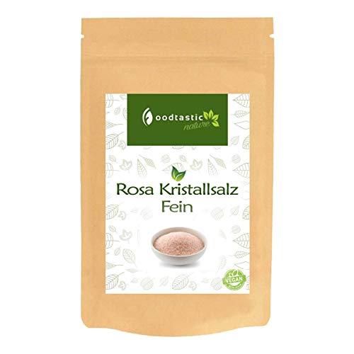 Foodtastic Rosa Kristallsalz Fein 1000g / 1kg, feine Körnung 0,7-1,0mm, pinkes Kristallsalz aus Pakistan, Vorratspackung zum Nachfüllen einer Gewürzmühle / Salzmühle