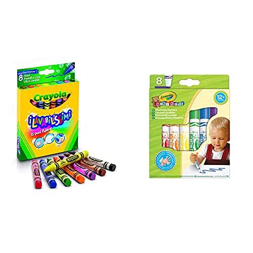 Crayola - 8 Gros crayons à la cire ultra lavables - Coloriage - 256317.012 & 8 Feutres dès 1 an - Loisir créatif - Mini Kids - à partir de 1 ans - Jeu de dessin et coloriage