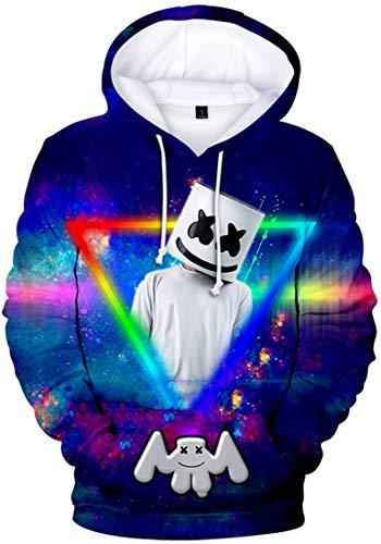 OLIPHEE 3D DJ gedruckt Kapuzenpullover für Herren Fans Cool Hoodie Cool Pulli Buntes Dreieck S