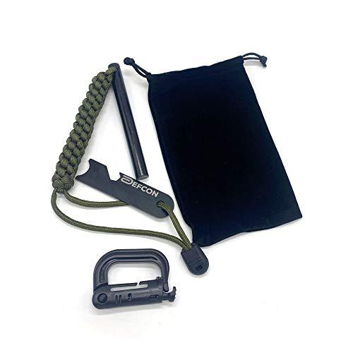 DEFCON Acero premium XXL 12,7 x 1,27 cm | perfecta chispas | 550 magnesio | 3 m Nylon Parachute Cord | Rascador multifunción | Mosquetón | Ultraligero