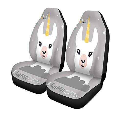 Set van 2 stoelhoezen voor autostoelen, schattig dier, Lama Alpaga, babyfiguur, cartoon, Joyeux universeel, voor voorstoelen, bescherming tegen voorstoelen, 14-17 inch
