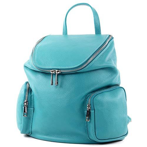 modamoda de - T175 - ital Damen Rucksack Tasche aus Leder, Farbe:Türkisblau