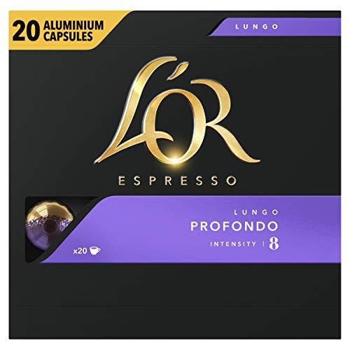 LOR Espresso Koffiecups Lungo Profondo (200 Lungo Koffie Capsules, Geschikt voor Nespresso* Koffiemachines, Intensiteit 08/12, 100% Arabica Koffie, UTZ Gecertificeerd), 10 x 20 Cups