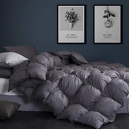 Goose Down Comforter King Size Duvet Insert 1200 Thread Count Hypoallergenic 100% Egyptian Cotton Cover 750+ Fill Power for All Seasons Cozy & Warm,Pinch Pleat Grey Comforter King-106x90Inches