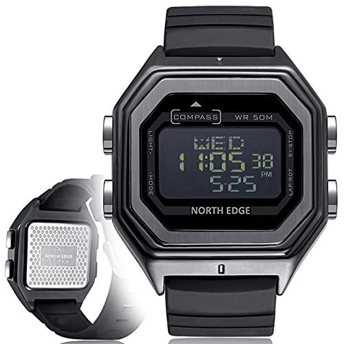 BNMY Reloj Digital Militar LED De Metal para Hombre, Brújula Multifunción, Reloj Deportivo Analógico Electrónico De Hora Dual Luminosa para Hombre,Negro