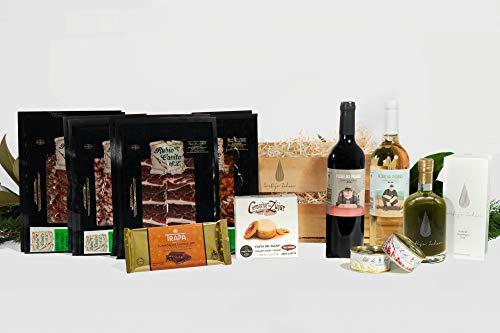 Cesta Gourmet: Jamón e ibéricos elaborados y curados en Guijuelo, Salamanca - Aceite AOVE Cosecha Temprana Premium - Queso premiado - Vino Tinto y Vino Blanco - 2 Pates de Campaña - Turrón.