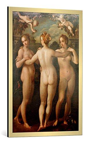 kunst für alle Bild mit Bilder-Rahmen: Hans von Aachen Die DREI Grazien - dekorativer Kunstdruck, hochwertig gerahmt, 65x100 cm, Gold gebürstet