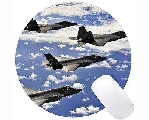 Rutschfeste runde Mausunterlage Matte, rutschfeste Gummibasis Mousepad der Kampfflugzeug-Raubvogel-F 22