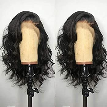 ANDRIA Short Bob Lace Front Wigs Glueless Natural Wave Synthetic Heat Resistant Fiber Hair Wig With Baby Hair For Black Women 16 Inches Black Wavy Shoulder Length Wigs