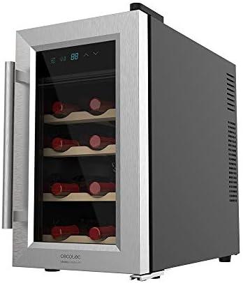 Cecotec Vinoteca Grand Sommelier 800 CoolWood. 8 Botellas, Capacidad de 25L, Puerta de Cristal con marco de Acero inoxidable y Estantes en Madera, Panel táctil y Pantalla LED