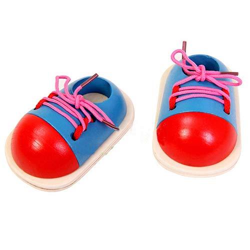 qingsb Niños Niños Zapatos Creativos de Juguete de Madera de Lazo de Cordones Aprender Encaje hasta el Enlace de Aprendizaje de las Habilidades de Desarrollo de la Herramienta