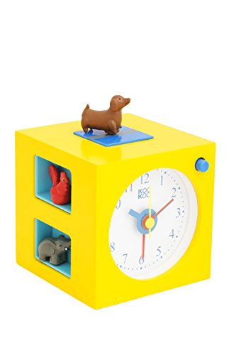 KOOKOO KidsAlarm Jaune, réveil pour Enfants avec 5 Animaux de la Ferme et Ses appels de réveil, enregistrements sonores de la Nature