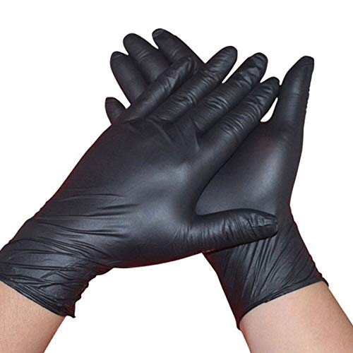 STRONG HEAVY DUTY BLACK NITRILE DISPOSABLE LARGE GLOVES - PACK OF 100 POWDER FREE EXAMINATION...