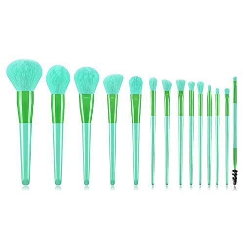 Anjing Lot de 14 pinceaux de maquillage synthétiques kabuki avec manche en bois et fibre synthétique Vert clair