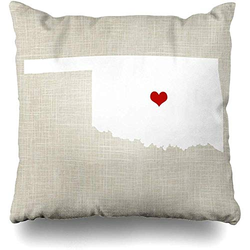 Throw Pillow Covers Oklahoma New Home State Outdoor Square Size 18 x 18 Inches Cushion Cases Home Pillowcases