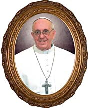 Religious Supply Pope Francis Formal Portrait, Oval Frame on Canvas