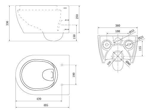Design Hänge WC Spülrandlos Toilette inkl. WC Sitz mit Softclose Absenkautomatik + abnehmbar kurz - 6