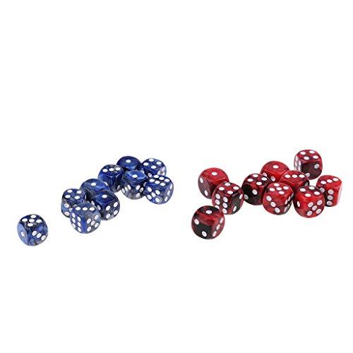 FLAMEER 20pcs Dice Dados de 6 Caras D6 Color Rojo Azul para Juegos