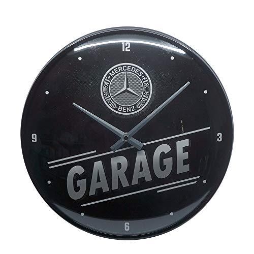 Nostalgic-Art Retro Wanduhr Mercedes-Benz – Garage – Geschenk-Idee für Auto Accessoires Fans, Große Küchenuhr, Deko Vintage-Design, 31 cm