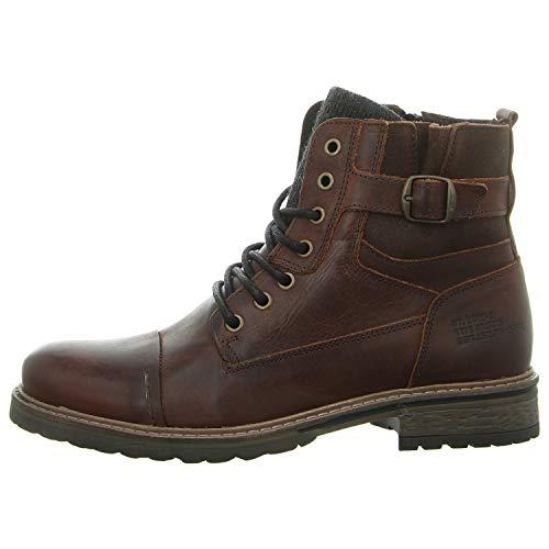 BULLBOXER Herren Stiefel 285K84158,Männer Boots,Lederstiefel,Schnürstiefel,Combat,Chukka,Blockabsatz,Brown,EU 41