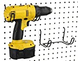 Pegboard Drill Holder, 2 Pack - Black, Steel - Hooks to Any Peg Board - Pegboard Organization Accessory - Add to Pegboard in Your Tool Shed, Garage, or Workbench