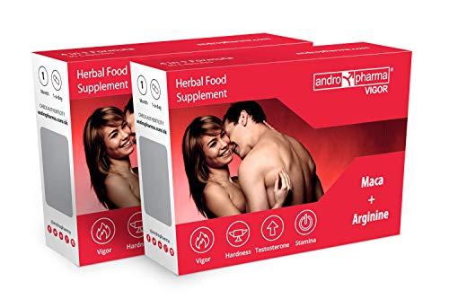 Andropharma Vigor Pastillas Potenciadoras del Deseo Masculino (2 cajas 2 meses) Suplementos para mejorar la Rigidez, la Fuerza y Resistencia