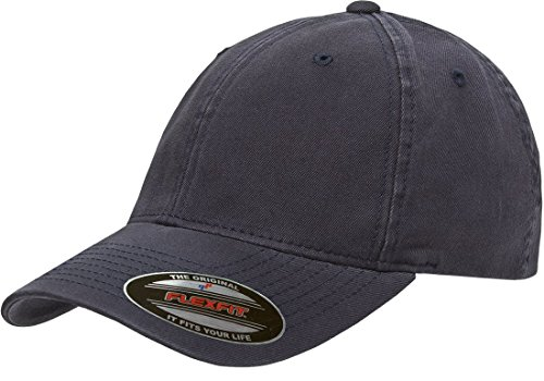 Yupoong Flexfit Men's Low-Profile Unstructured Fitted Dad Cap, Navy, Small/Medium