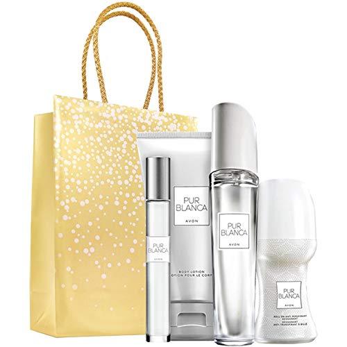 Avon Pur Blanca Parfumset 4 tlg. Eau de Parfum Spray/Bodylotion/Deoroller/Parfumroller blumig/frisch + goldene Geschenktasche