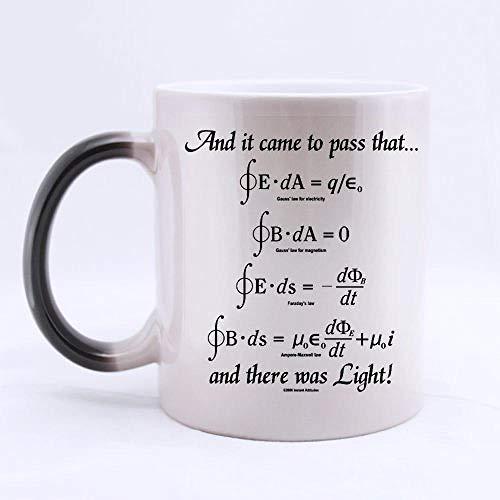 PAWANG Tasse De Tasse De Formule Mathématique Dieu A Dit L'Équation De Maxwell, Et Il Y A Une Tasse De Couleur Claire Tasse À Café Déformée - Taille De 11 Oz