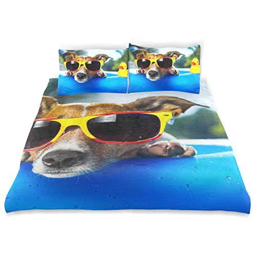 SUNOP Biber-Bettwäsche-Set für Doppelbett, 100% gebürstete Baumwollflanell, Bettbezug und 2 Kissenbezüge, Bettwäscheset, Hund auf Blauer Luftmatratze in erfrischendem Wasser