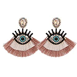 Champagne Geometric Fringed Multicolor Drop Earring With Rhinestones
