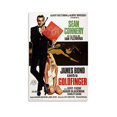 Sean Connery James Bond 007 Goldfinger Movie Poster 2 Poster Decorative Painting Canvas Wall Art Living Room Decor Posters Bedroom Painting 12x18inch(30x45cm)