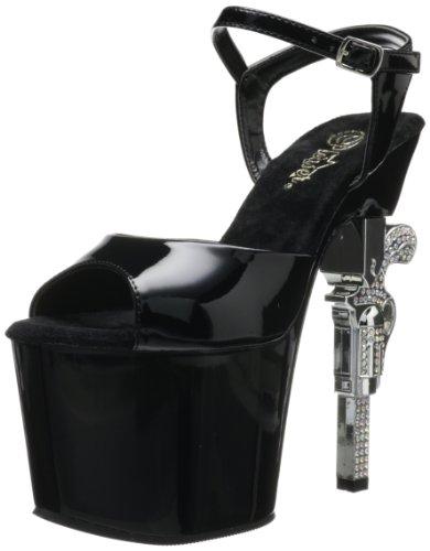 Pleaser Women's Revolver-709 Ankle-Strap Sandal,Black/Black,8 M US