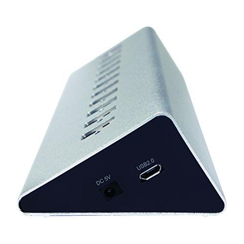LogiLink UA0226 USB 2.0 Hub 10-Port + 1x Schnell-Ladeport mit Smart IC / LED Anzeige / Überspannungsschutz, für Windows & MAC OS