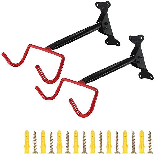 Kettles 2 Stück Fahrradaufhänger Rack Heavy Duty Faltbare Fahrrad Wandhalterung Rack Aufhänger Horizontal Bike Haken Hält bis zu 66 Pfund mit Schrauben für Kinderbilanz Fahrräder bis Mountainbikes