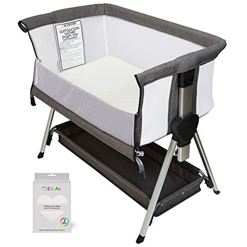 Bedside Bassinet for Baby | Bedside Sleeper for Baby Allows Safe Cosleeping at Arms Reach | Portable Baby Bed | Includes Hypoallergenic Mattress & Waterproof Fitted Crib Sheets | CPSC Approved