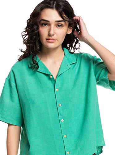 Quiksilver - Camisa Camp de Corte Cuadrado - Mujer - XS - Verde