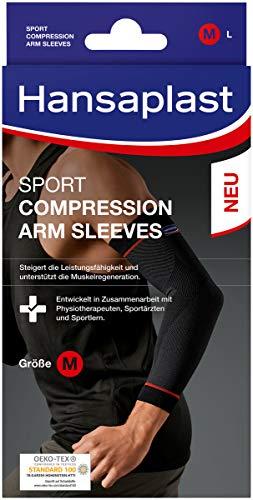 Hansaplast Sport Compression Wear Arm Sleeves, Armbandage unterstützt die Muskulatur, Ellenbogenbandage fördert mit Kompression die Muskelregenration, 1 Paar, Größe S/M