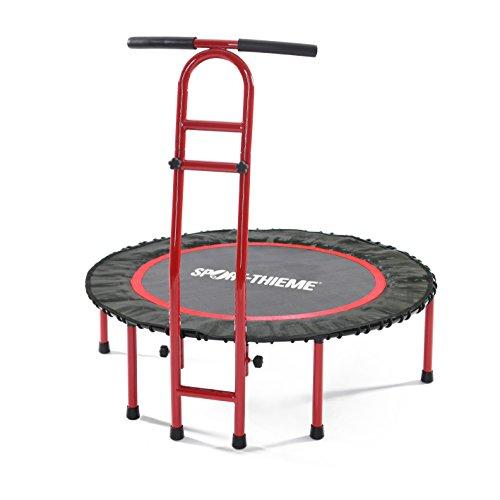 Sport-Thieme Fitness-Trampolin mit Haltegriff Indoor | Höhenverstellbare Haltestange, Bungee Gummiseilfederung | Belastbar bis 130 kg | 16 kg | Markenqualität