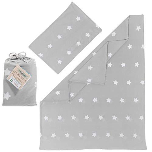 Kinderbettwäsche 100 x 135 aus 100% BIO Baumwolle - Bettbezug/Bettwäsche Set für Kinder & Baby in grau (mit weißen Sternen) für Mädchen & Jungen