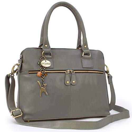 Catwalk Collection Handbags - Leder - Große Schultertragetasche/Umhängetasche/Shopper/Tote - Handtasche mit Schultergurt - VICTORIA - Grau