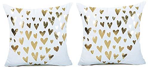 Cojín cuadrado de 2 fundas de almohada - cojín ornamental - 44 x 44 cm - sofá - ropa de cama - hogar - cama - muebles - dormitorio - corazones - corazón - blanco - estampado en oro